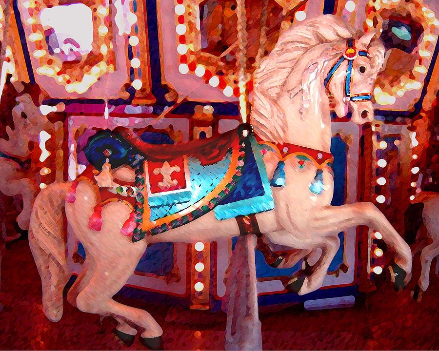 Horses Painting - White Carousel Horse by Amy Vangsgard