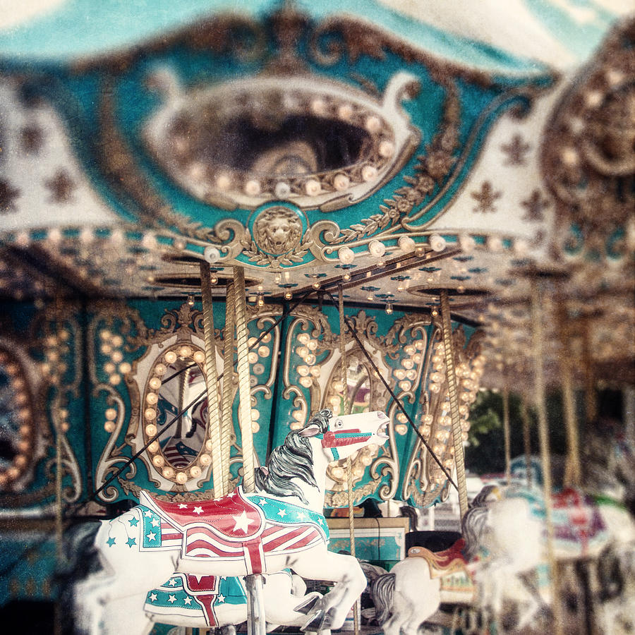 Carousel Photograph - White Carousel Horse On Teal Merry Go Round by Lisa Russo
