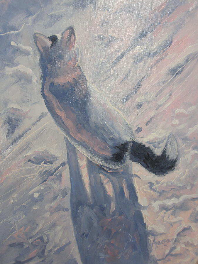 Cat Painting - White Cat in Snow by Sherri Anderson
