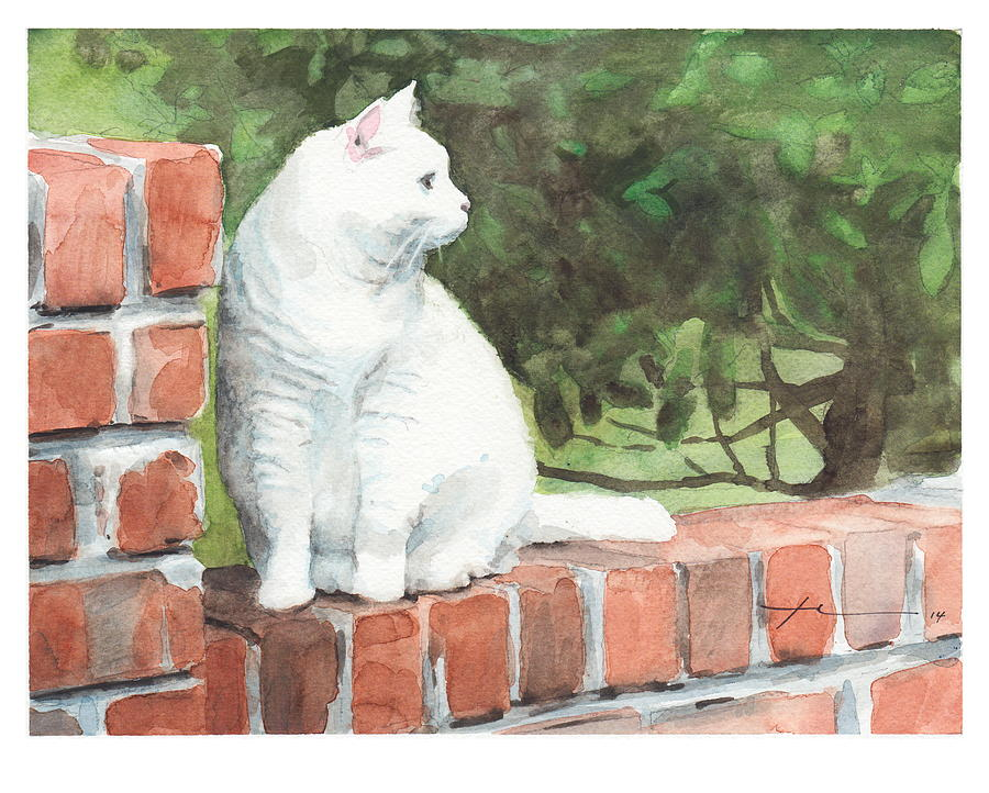 White Cat On Brick Wall Watercolor Portrait Painting by Mike Theuer