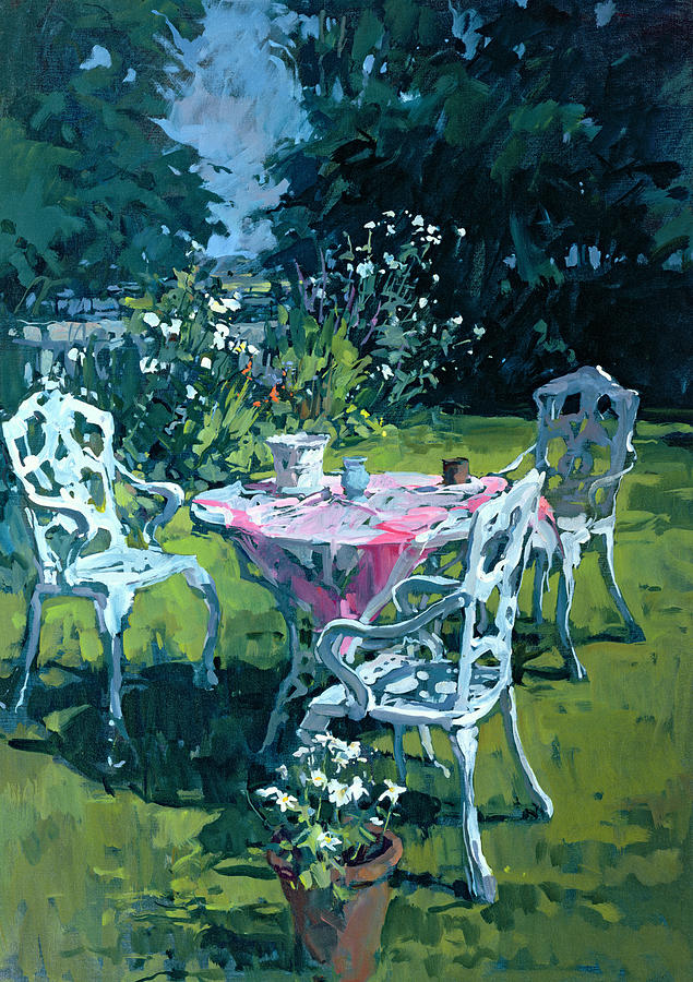 Scottish Painting - White Chairs At Belchester by Susan Ryder