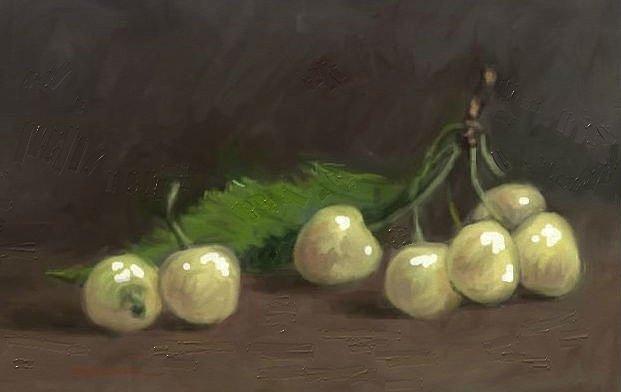 Still Life Painting - White Cherries by Tancau Emanuel