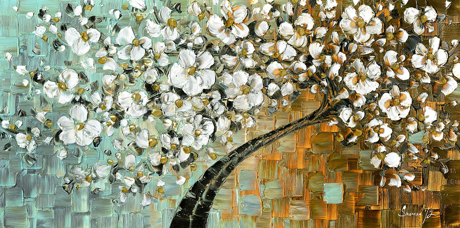 White Cherry Blossom Painting By Susanna Shap