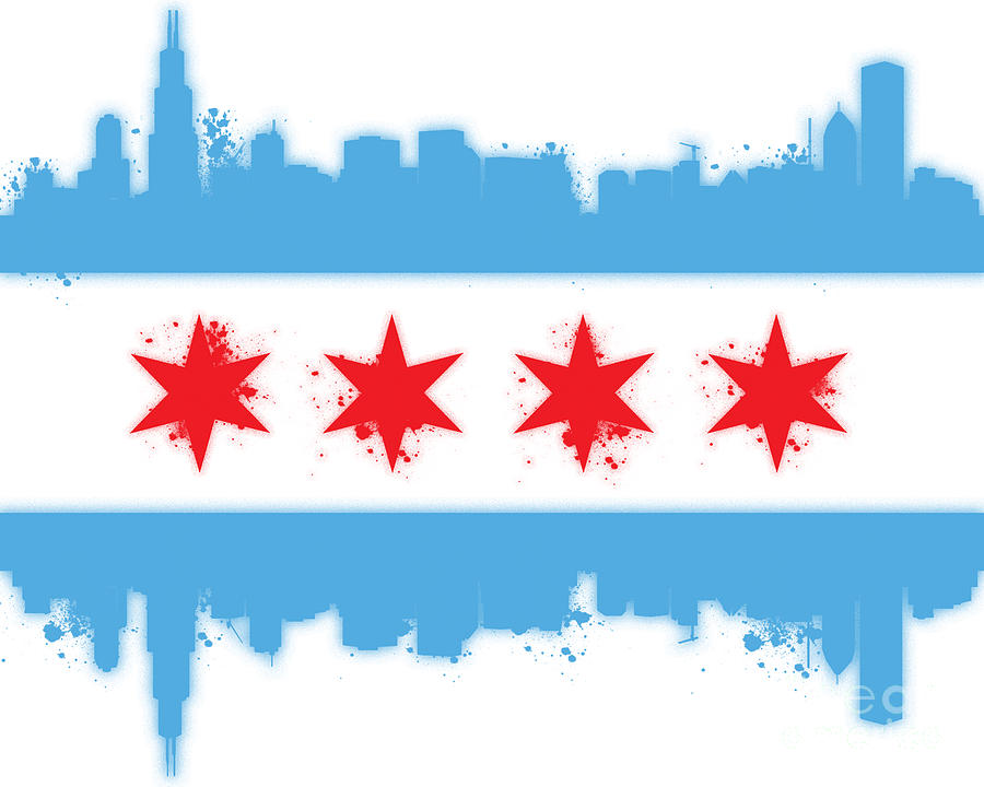 Chicago Digital Art - White Chicago Flag by Mike Maher