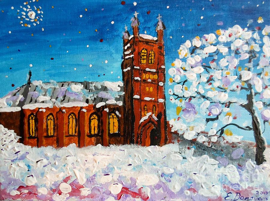 Christmas Painting - White Christmas at St. Andrews by Eliza Donovan