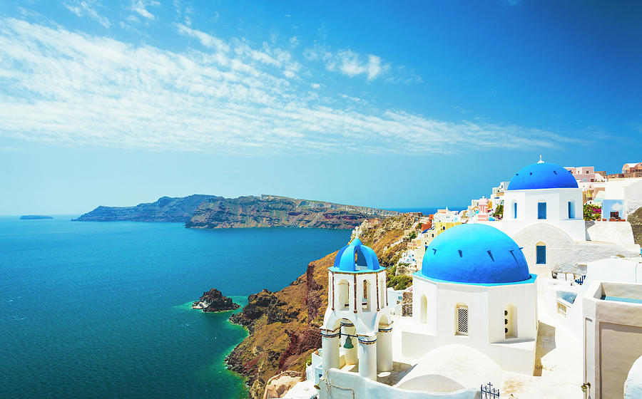 White Church In Oia Town On Santorini Photograph by Spooh