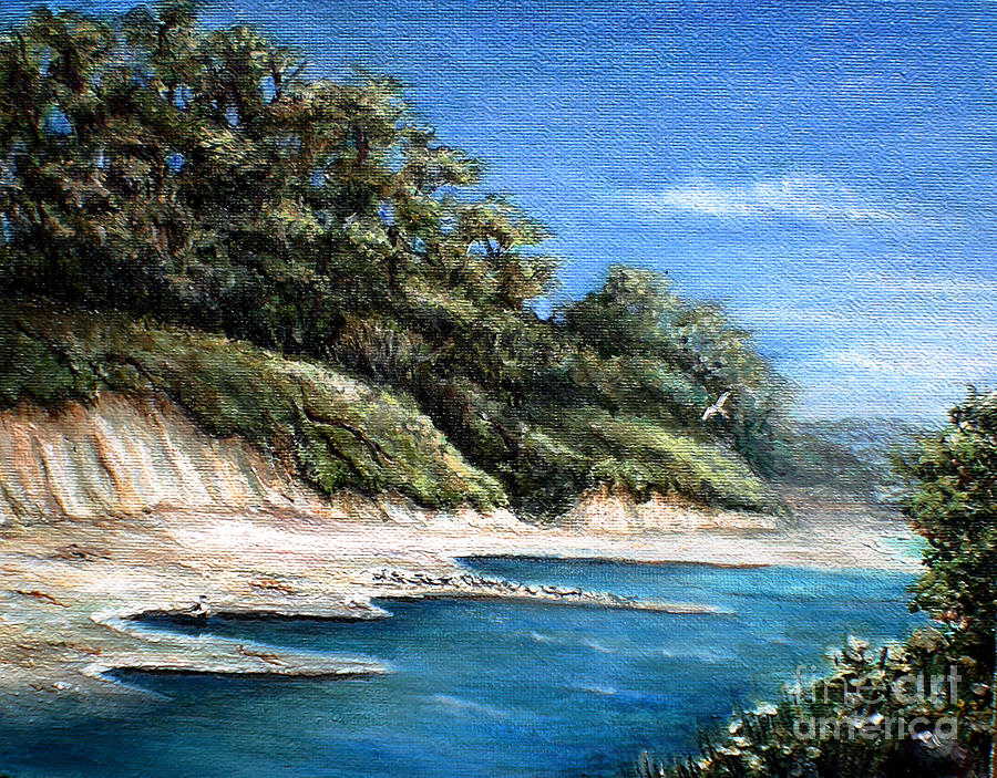 California Beach Painting - White Cliffs by Danuta Bennett