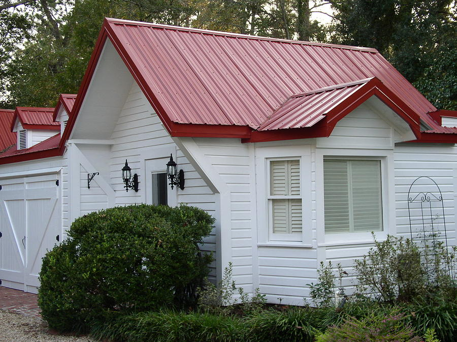 White Cottage Photograph   White Cottage Red Roof In Moultrie Georgia 2004  By Cleaster Cotton