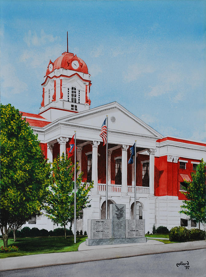 White County Painting - White County Courthouse - Veterans Memorial by Glenn Pollard
