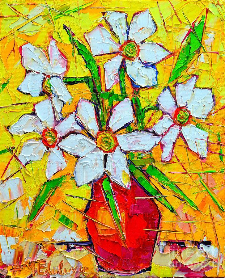 Daffodil Painting - White Daffodils  by Ana Maria Edulescu