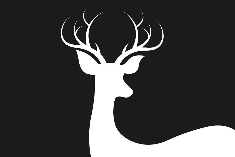 White Deer Silhouette Digital Art By Chastity Hoff