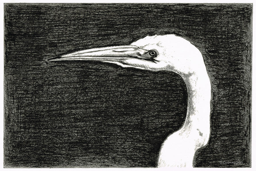 Egret Painting - White Egret Art - The Great One - By Sharon Cummings by Sharon Cummings