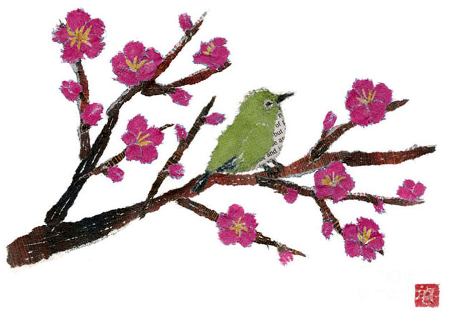 Bird Painting - White Eye And Japanese Plum Tree by Keiko Suzuki