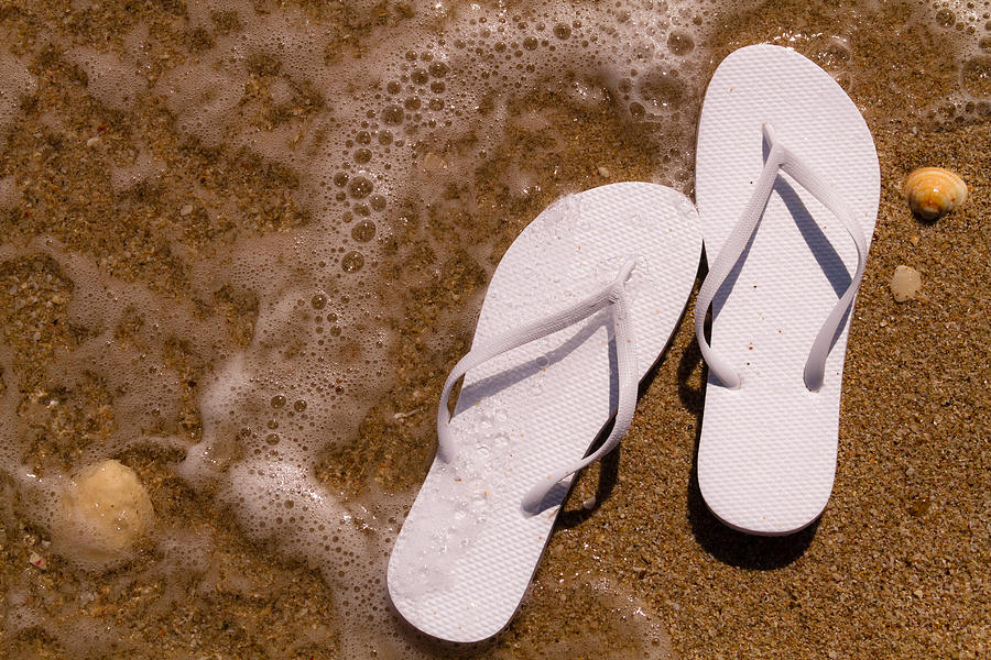efed4fcaffa9 Water Photograph - White Flip Flops On The Beach by Teri Virbickis