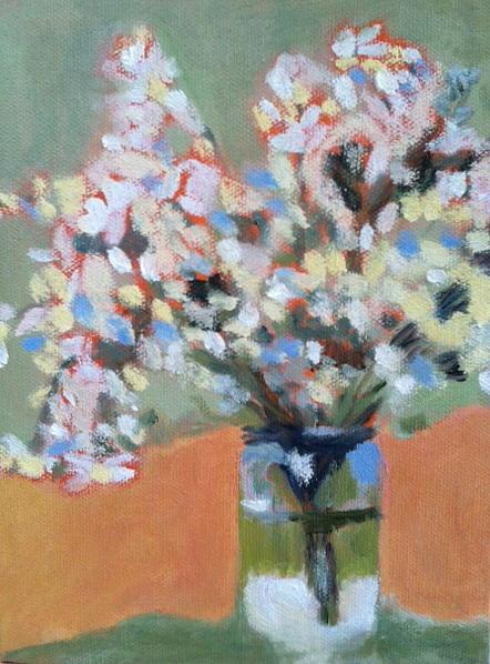 Still Life Painting - White Flower Mason Jar by Molly Fisk