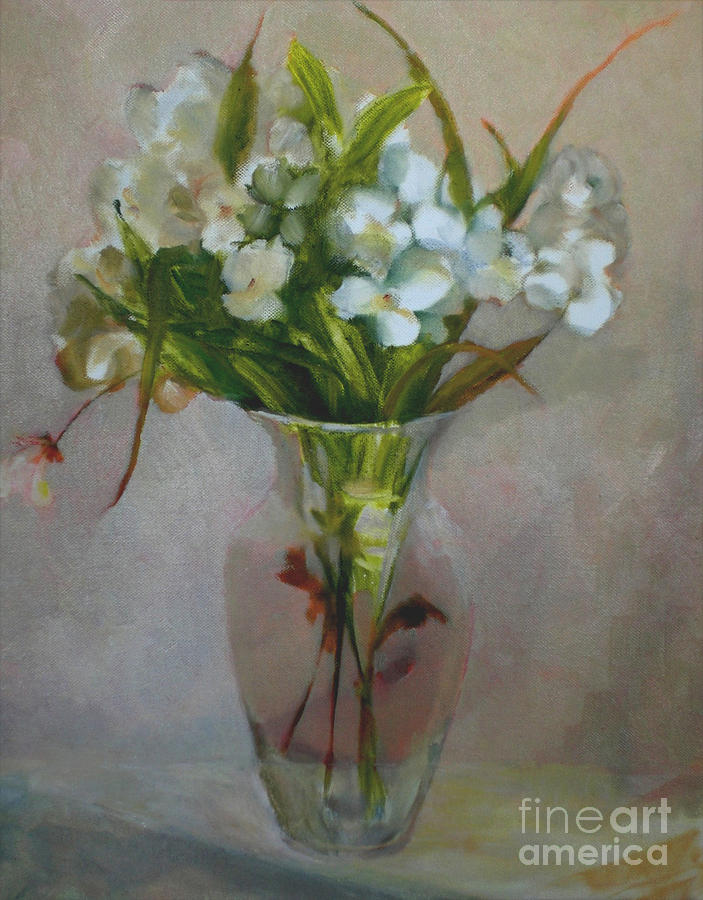 Wedding Card Painting - White Flowers        Copyrighted by Kathleen Hoekstra