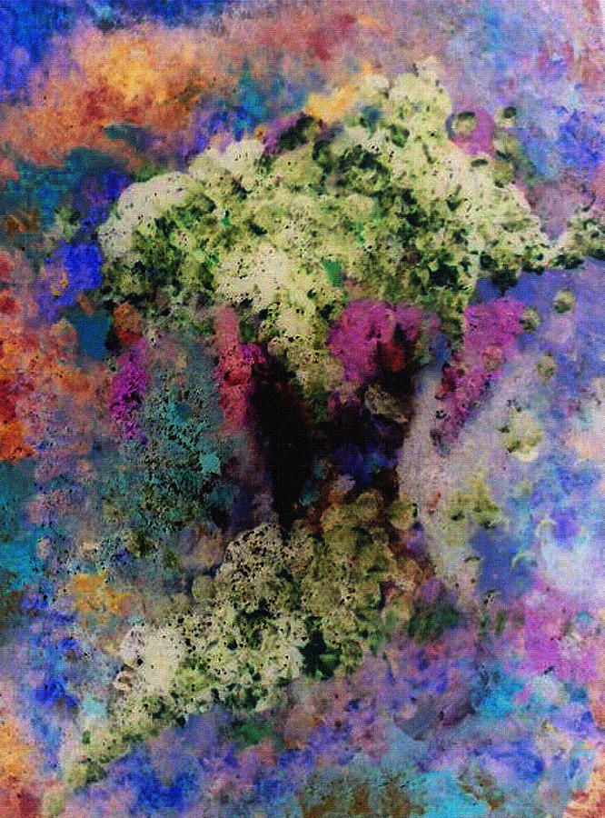 Floral Mixed Media - White Flowers In A Vase by Lee Green