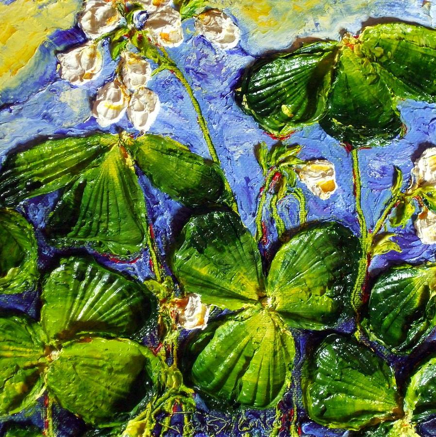 White Flowers Shamrocks Painting by Paris Wyatt Llanso