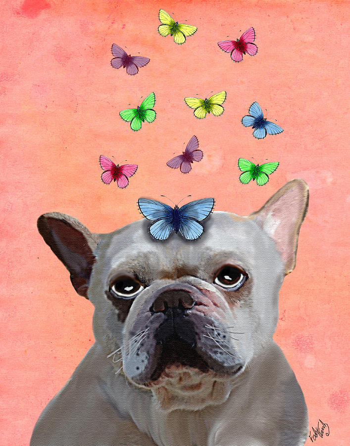 White Digital Art - White French Bulldog And Butterflies by Kelly McLaughlan