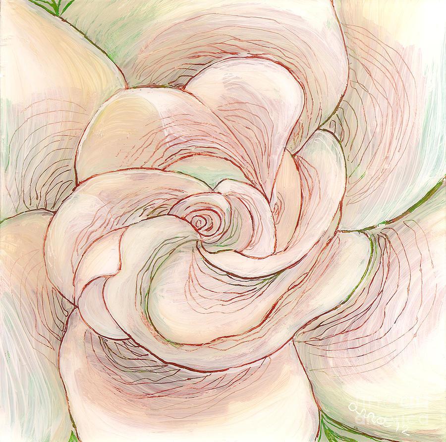 White Gardenia Painting - White Gardenia 1 by Anna Skaradzinska