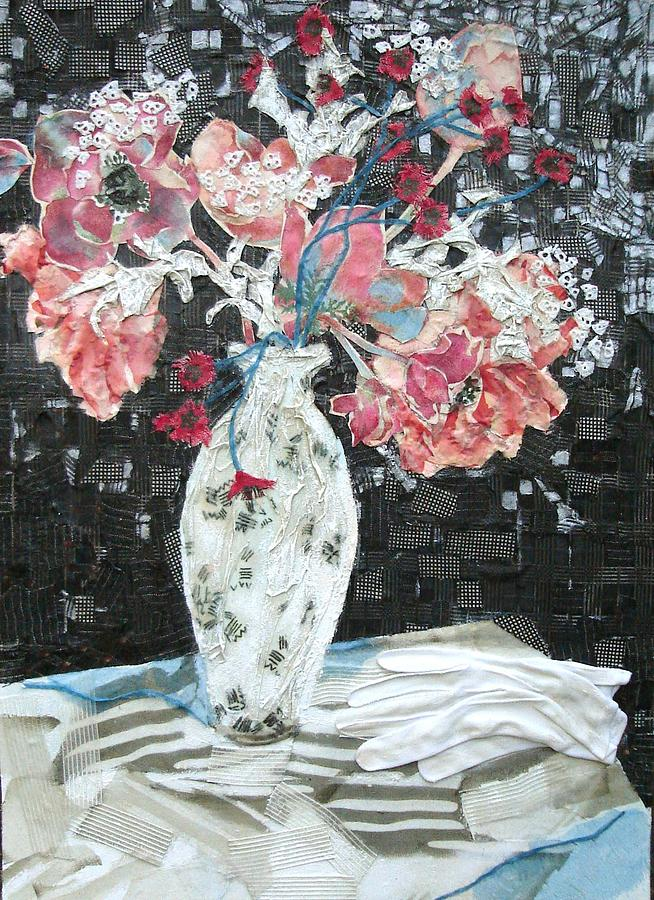 Flowers In A Vase Mixed Media - White Glove by Diane Fine