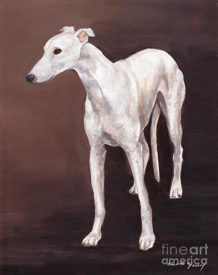 Dog Portrait Painting - White Greyhound by Charlotte Yealey