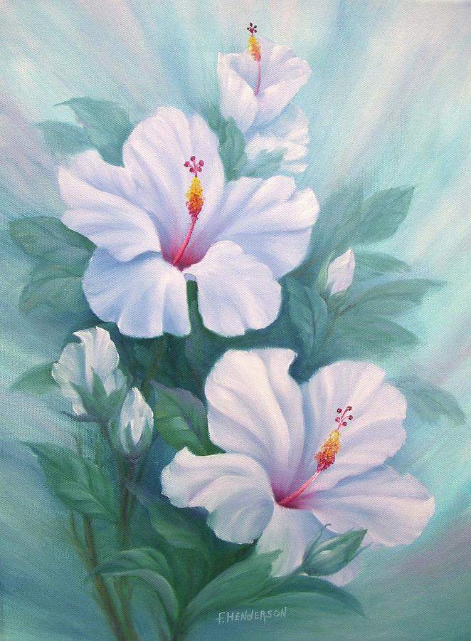 White Hibiscus Painting - White Hibiscus by Francine Henderson