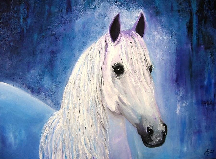Oil Paintings Painting - White Horse by Doris Cohen
