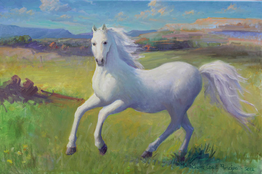 West Painting - White Horse by Gwen Carroll