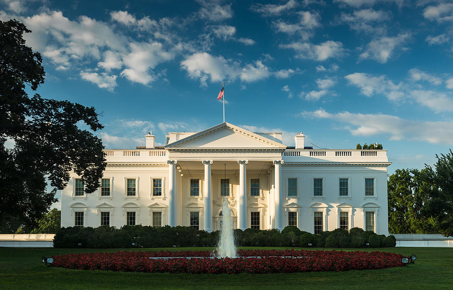 White Photograph - White House Sunrise by Steve Gadomski