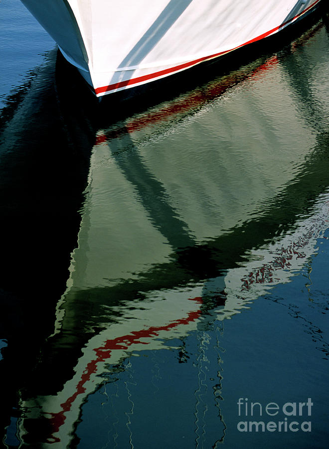 Reflect Photograph - White Hull On The Water by William Kuta