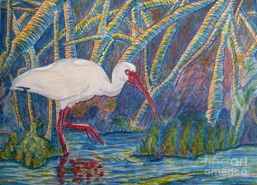 White Ibis Painting - White Ibis In The Mangroves by Judy Via-Wolff
