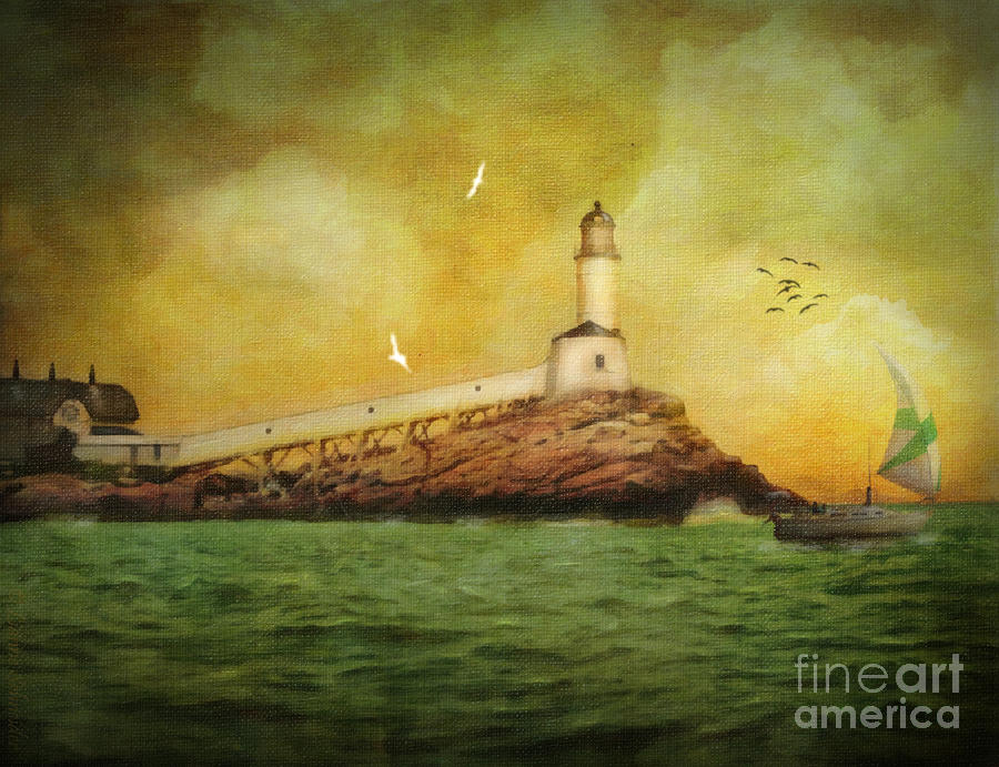 White Island Light - Isles Of Shoals Digital Art