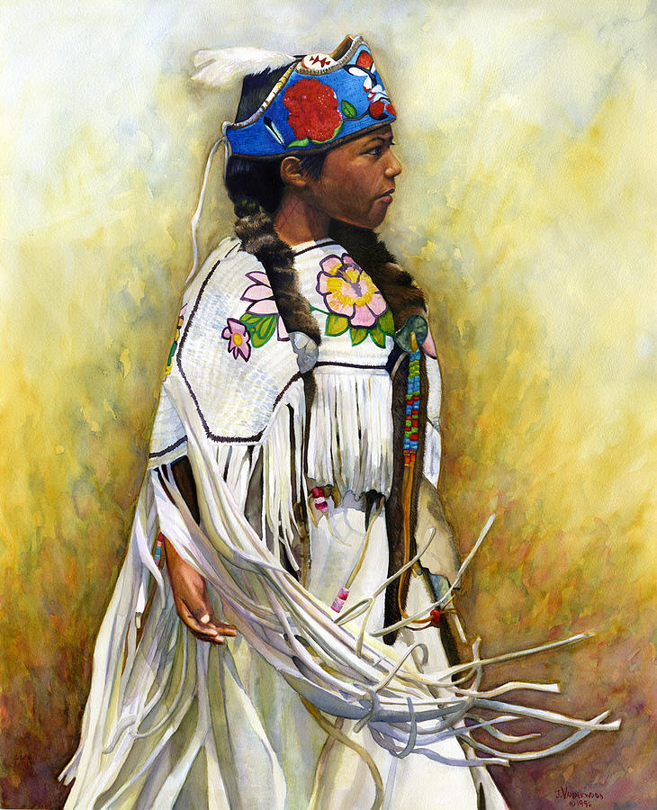 Native American Painting - White Leather Buckskin And Headdress by Jacquelin L Vanderwood Westerman