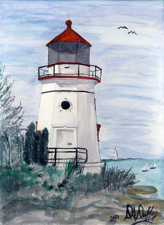 White Lighthouse Near The Sea Painting By Deborah Duffy