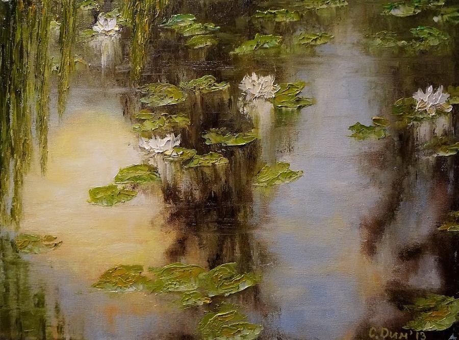 Landscapes Painting - White Lilies by Svetla Dimitrova