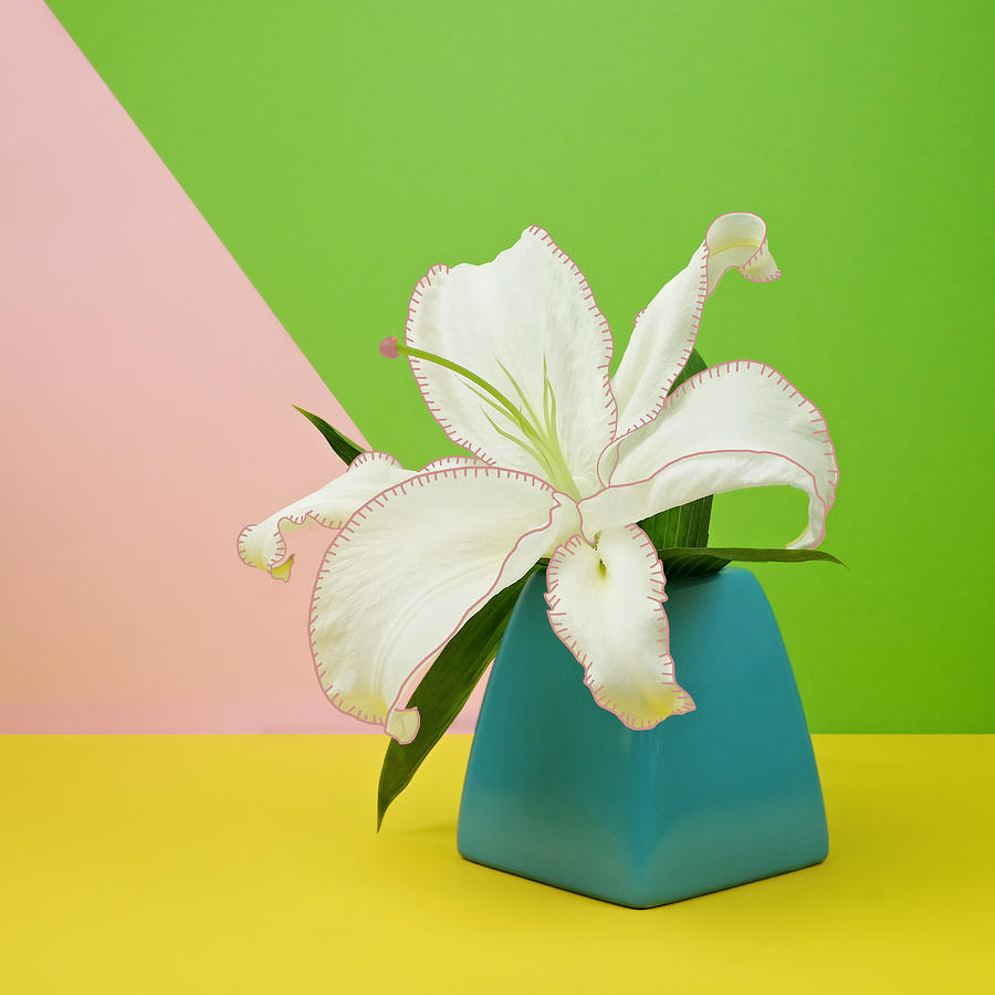 White Lily Flower In Blue Vase Photograph by Juj Winn