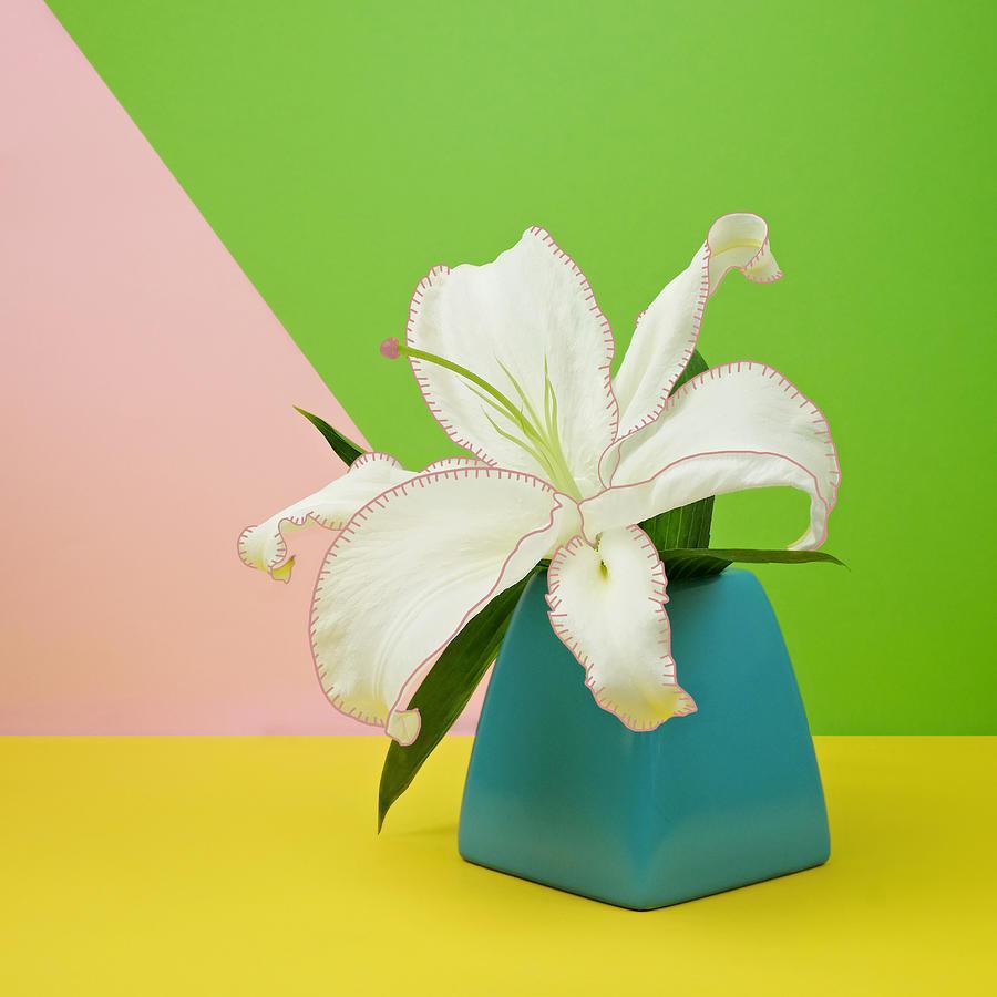 Vase Photograph - White Lily Flower In Blue Vase by Juj Winn