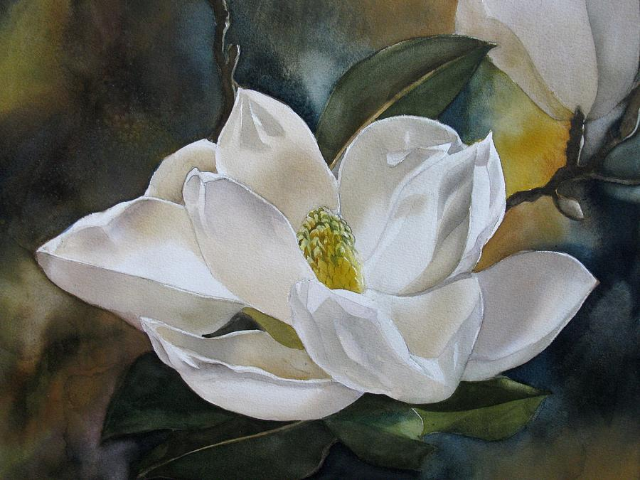 Watercolor Painting - White Magnolia by Alfred Ng