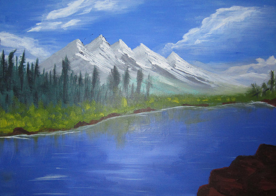 Mountains Painting - White Mountains by Haleema Nuredeen