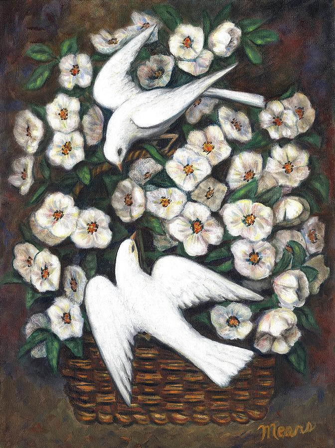 Birds Painting - White On White by Linda Mears