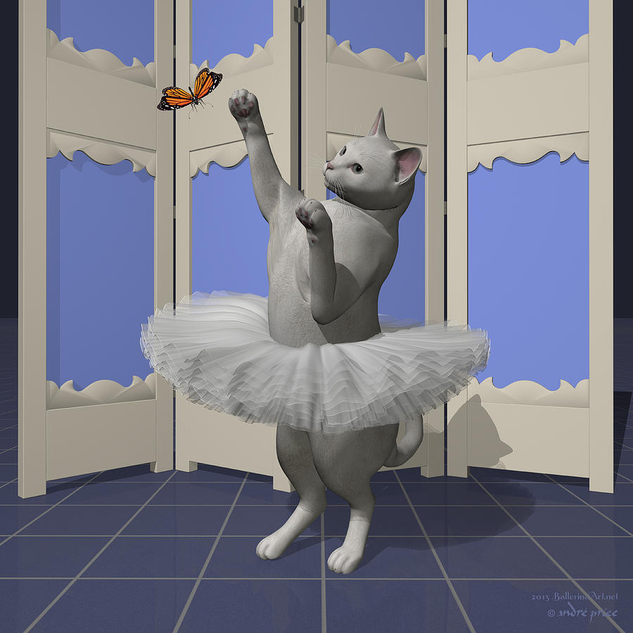White Oriental Ballet Cat On Paw-te Digital Art by Andre Price
