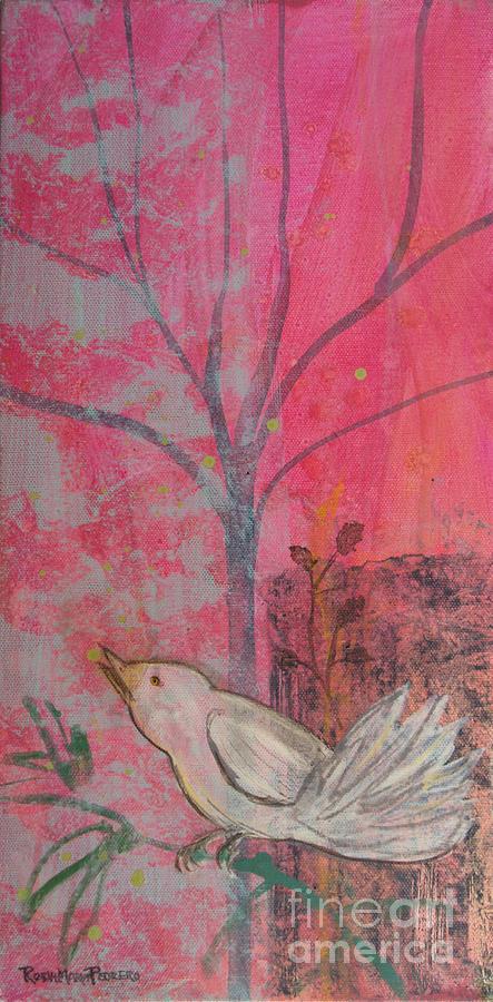 White Bird Painting - White Peace Bird On Pink by Robin Maria Pedrero