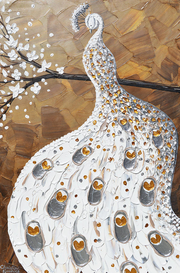 White Painting - White Peacock by Christine Bell