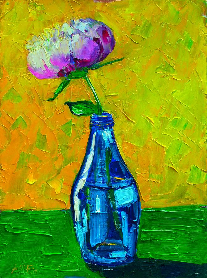 Floral Painting - White Peony Into A Blue Bottle by Ana Maria Edulescu