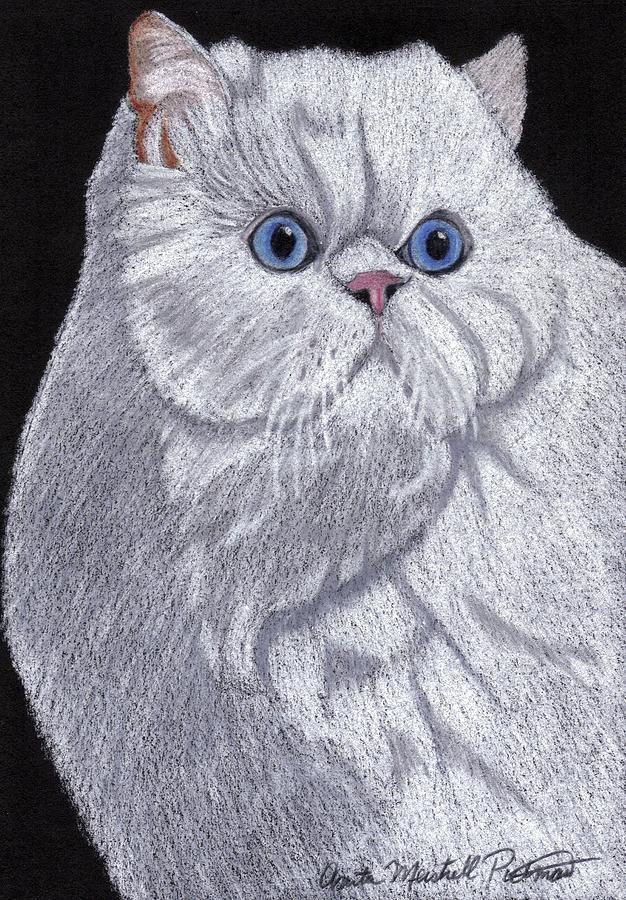 Cat Painting - White Persian Vignette by Anita Putman
