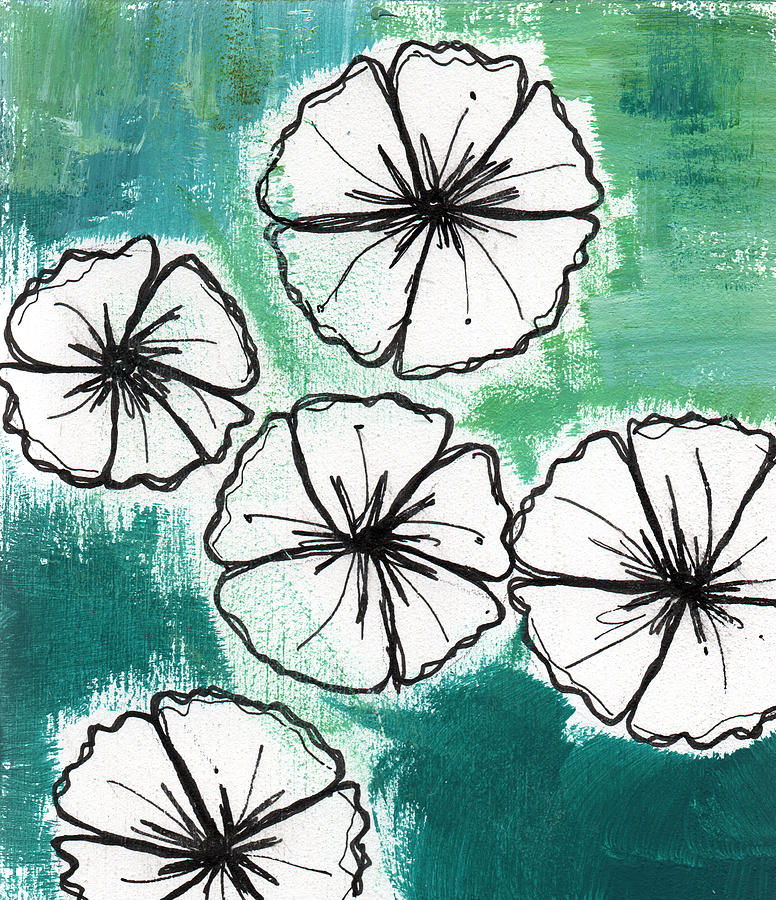 White Petunias- Floral Abstract Painting Painting