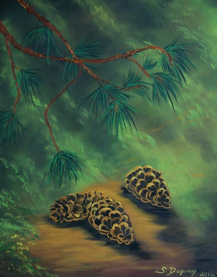 Pine Tree Painting - White Pine  And Cones by Sharon Duguay