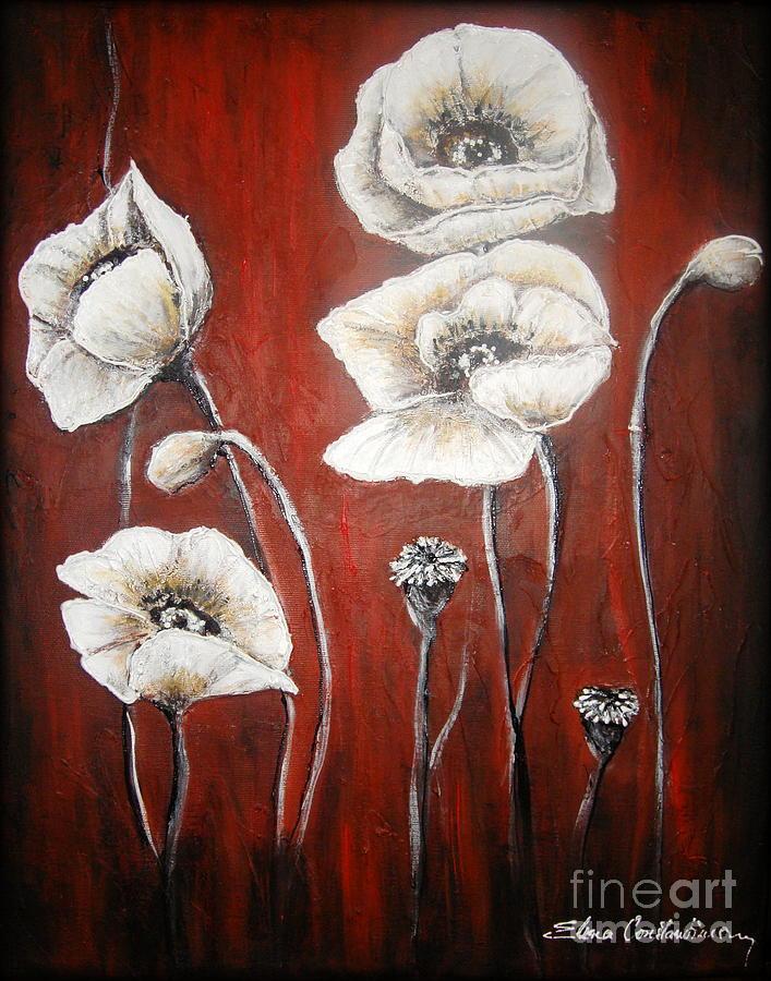 Poppies Painting - White Poppies by Elena  Constantinescu