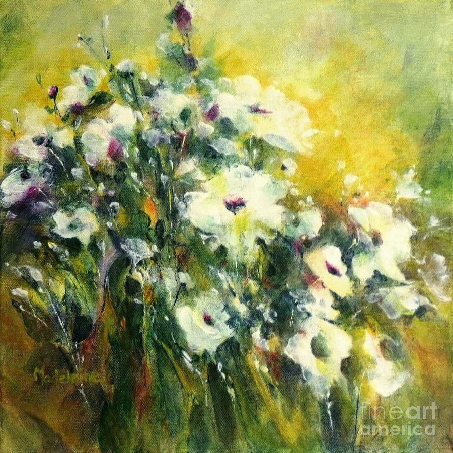 Canvas Prints Painting - White Poppy Garden II by Madeleine Holzberg